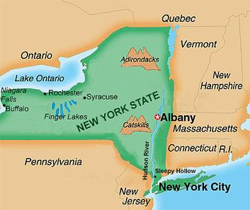 Carte Etat New York